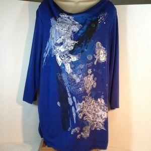 Style & Co Royal Blue W/Silver Graphics Dressy Tee